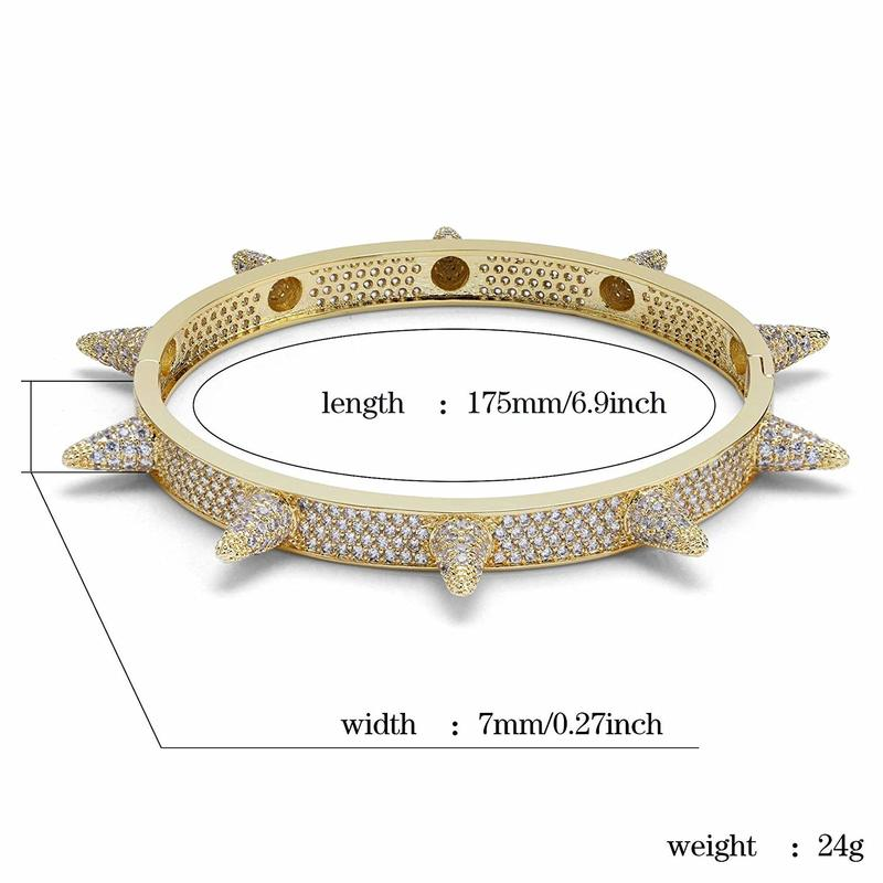 Cubic Zircon Hip Hop Rose Gold Silver Rivet Bracelets Spike Bangles Gifts Men Women Personality Bracelet in Bangles from Jewelry Accessories