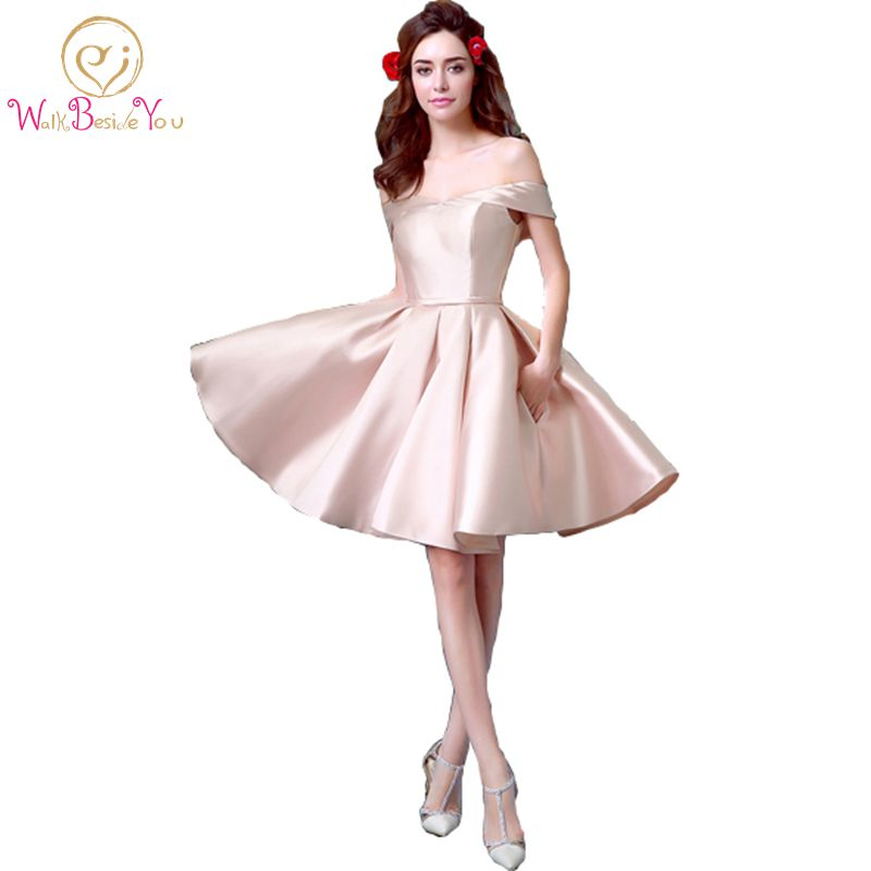 100% Real Images 2017   Cocktail     Dresses   with Pocket Pink Knee Length Satin vestido de festa cortos elegantes Party Formal Gown