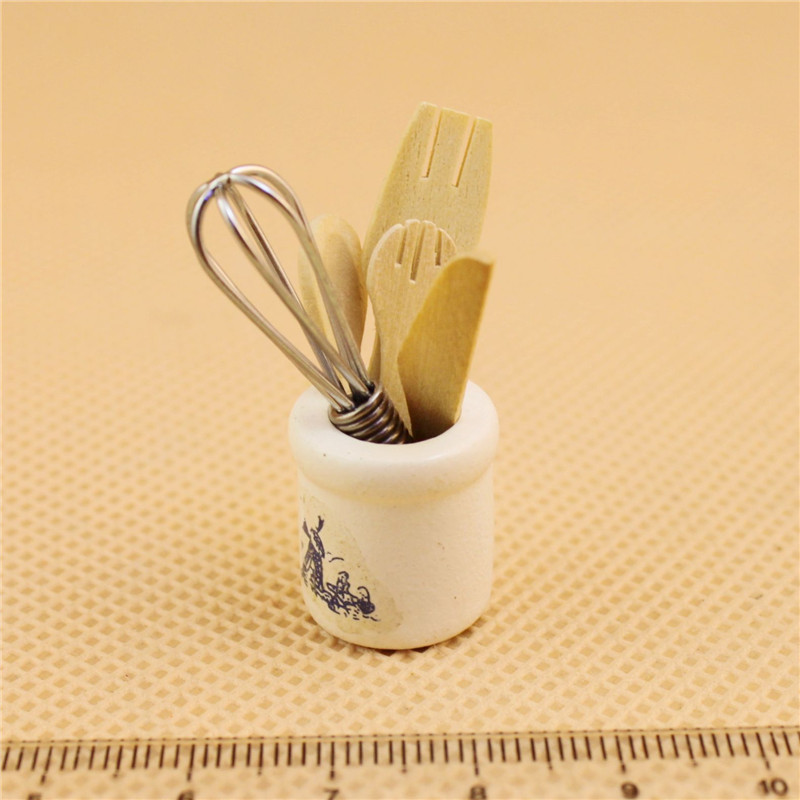 Doll House Mini Kitchen Accessories Wooden Knife <font><b>And</b></font> Fork Metal Whisk Jar Set <font><b>Dollhouse</b></font> <font><b>Miniatures</b></font> <font><b>1:12</b></font> Accessories image