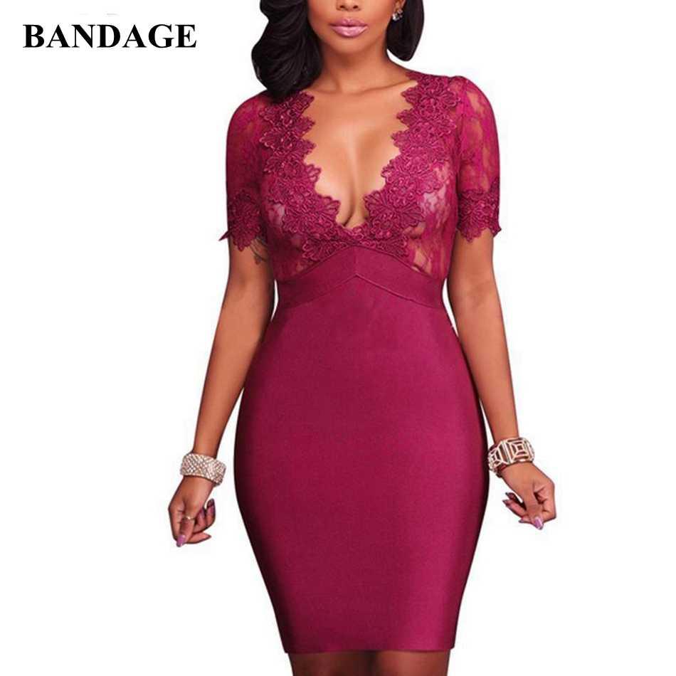 Новое поступление сексуальное кружевное платье с v-образной горловиной Бандажное платье для вечеринок Bodycon Vestidos Для женщин платья красные, черные, для нового года, эксклюзивная по колено