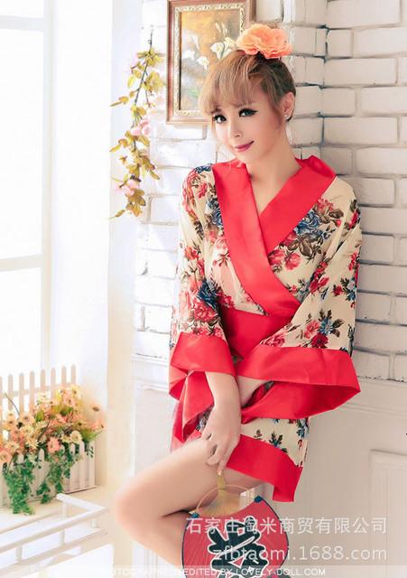 Sexy tentação Uniforme quimono Japonês das Mulheres Pijamas camisola sleepshirt nightdress Roupa Em Casa das Mulheres Frete Grátis