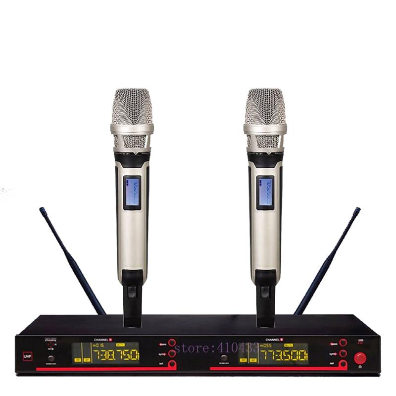 цена на SKM 9000 5200 style UHF band frequency adjustable dual handheld vocal karaoke wireless microphone system