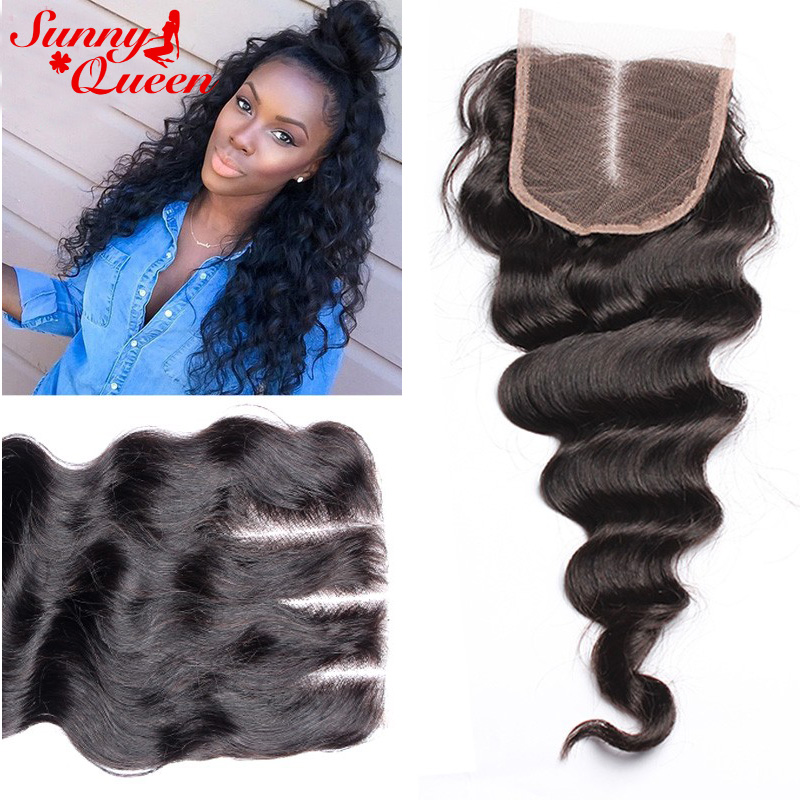 ФОТО 8A Malaysian Virgin Hair Lace Closure Free 3 Part Loose Wave Closure Bleached Knots Human Hair Closure Sunny Queen Hair Products