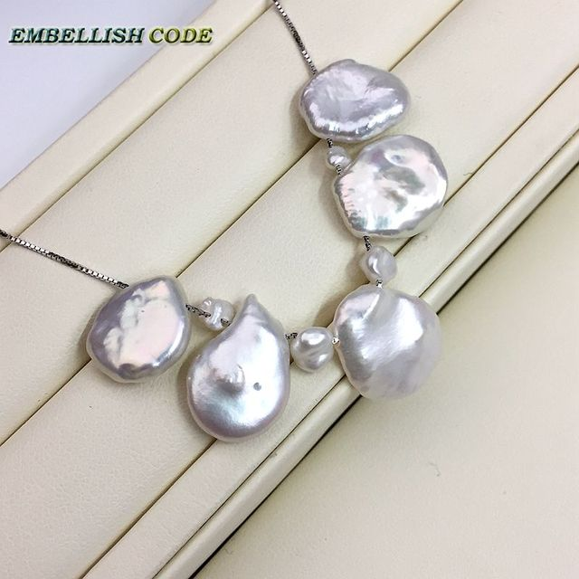 2017 NEW Design unusual particular white color keshi pearl pandent necklace girl or women with box chain 925 sterling silver