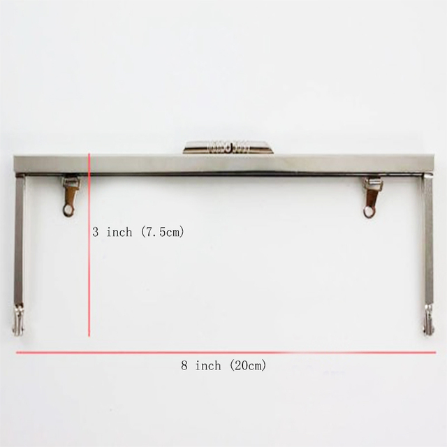 8 x 3 inches (20x7.5 cm) Open Channel Metal Clutch Purse Frame with ...