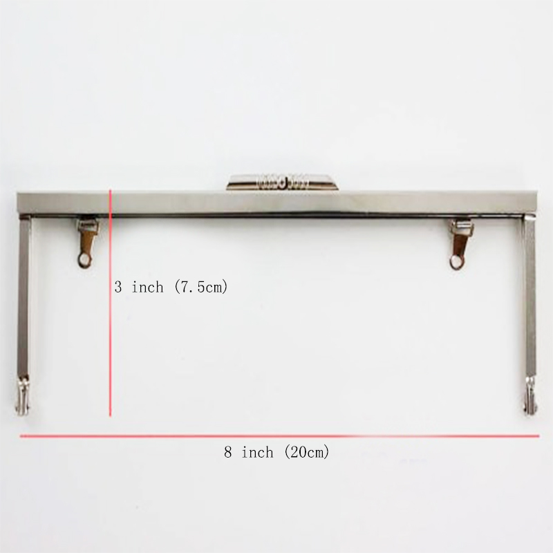 8 x 3 inches (20x7.5 cm) Open Channel Metal Clutch Purse Frame with Chain Loops 14 Pcs/lot