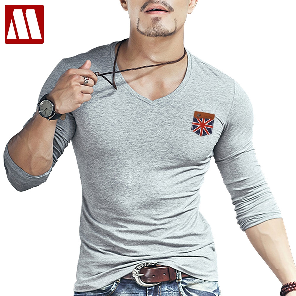 Design t shirt murah - 2017 Pendatang Baru Pria Inggris Flag Dijahit Tangan Desain T Shirt Hipster Tops Lengan Panjang Palsu