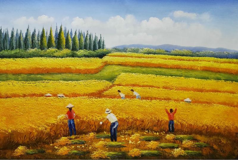 Ręcznie malowane abstrakcyjny krajobraz olej na płótnie malarstwo - Wystrój domu - Zdjęcie 1