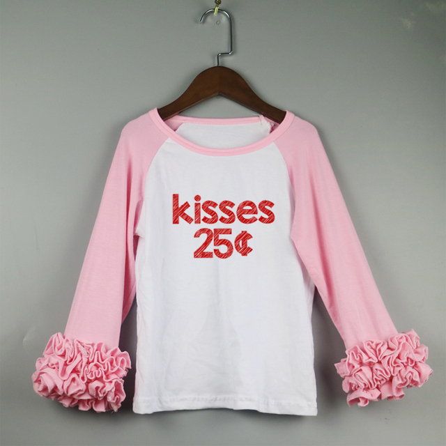 pink icing ruffle t-shirts Saint girl t-shirts kids Valentine's ruffles icing shirts