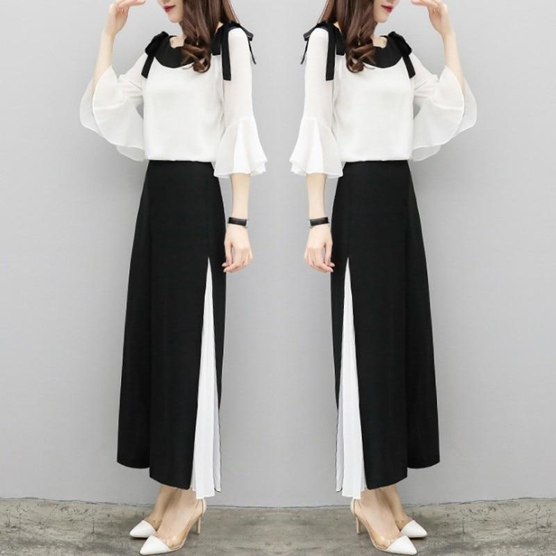 2019 Fashion Elegant 2 Pieces Suits Chiffon Flare Blouse Wide Leg Pants Sets Black White Two Pieces Sets 3