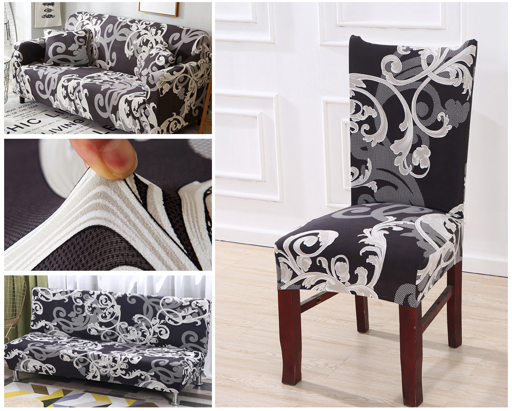 1246PCS Geometry Spandex Chair Cover Dining Washable slipcover for seat Elastic Kitchen Chair Covers Stretch Furniture Covers (2)