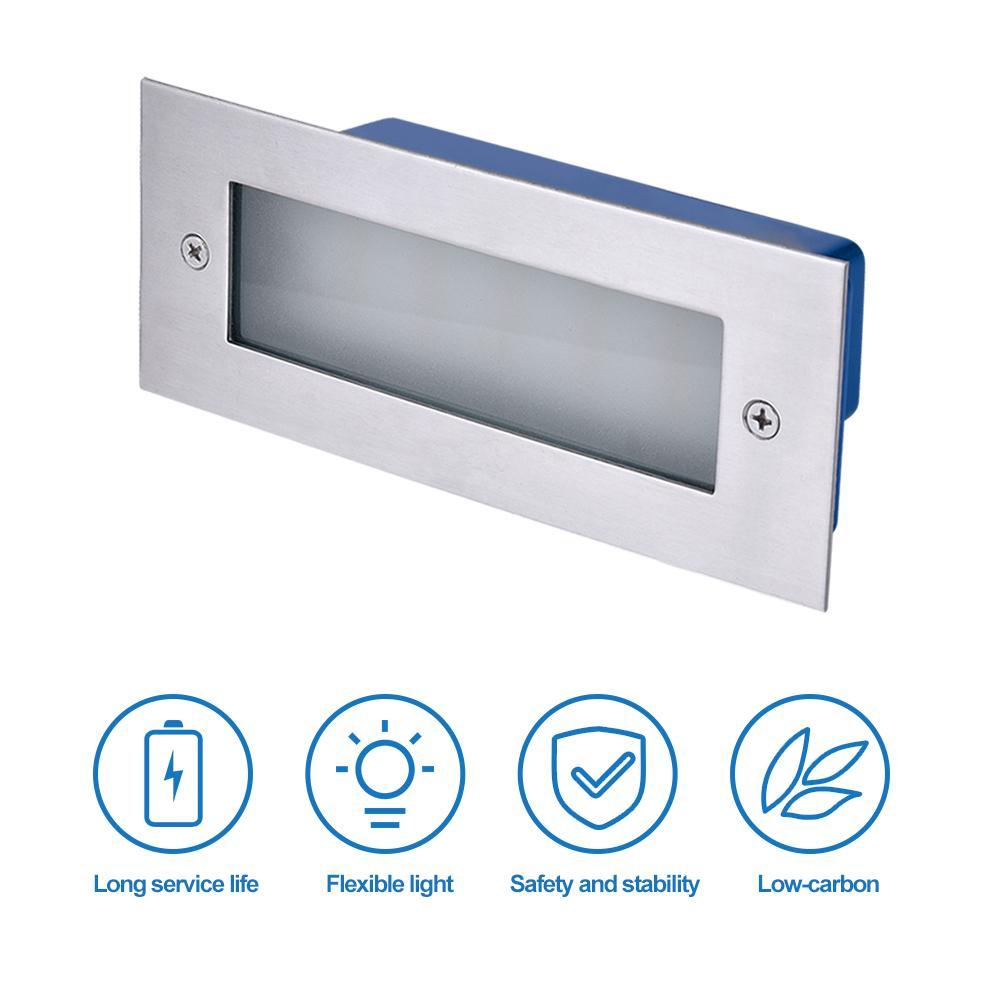 520LM LED Brick Light Lamp Recessed Stainless Steel Outdoor Wall Lighting 6000k/ 3000K Cool White IP65 Waterproof