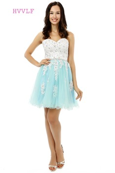 HVVLF Sky Blue 2019 Homecoming Dresses A-line Sweetheart Short Mini Organza Beaded Crystals Appliques Cocktail Dresses