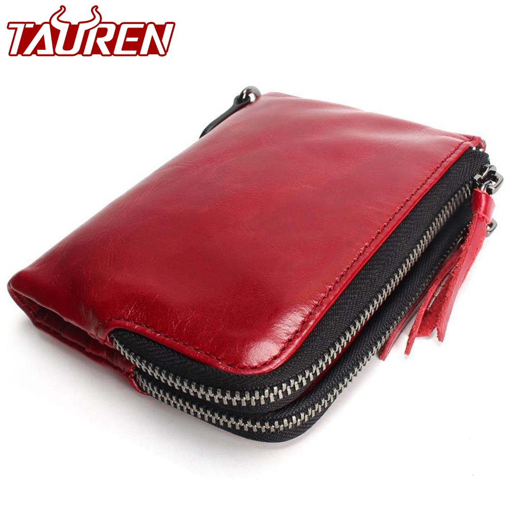 2018 New TAUREN Cute High Quality Genuine Leather Women Mini Wallet Oil Wax Leather Coin Purse Coin Zipper Credit Card Holder mens wallet genuine leather vintage small wallets brand design high quality unisex oil wax cowhide coin purse credit card holder