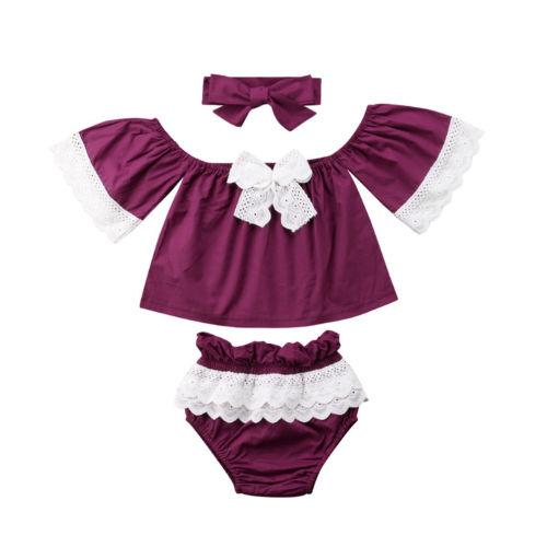 Summer Lace Bowknot Newborn Kid Baby Girls Off Shoulder Tops Ruffles Shorts Bottoms Headband Outfits Clothes Set