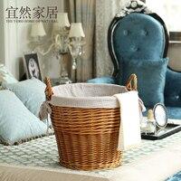 Derlook Large Rattan Basket Laundry Dirty Clothes Storage Basket Clothing Toys Storage Living Room Bathroom Decoration