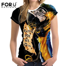 FORUDESIGNS Alcedo t shirt Short Sleeve Women Funny Clothing Summer Kawaii Tops Girls Female t-shirt Black Casual O Neck Tees
