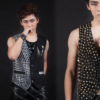 Nightclub Male singer stage show party Performance wear Male ds Paillette Vest Formal Dress Costumes costume male clothes