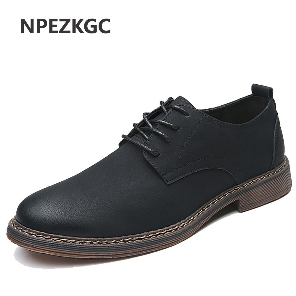 Npezkgc Men Shoes New Spring And Autumn Casual Fashion Safety Stylish Flat Oxfords Breathable Footwear Pu Leather Waterproof