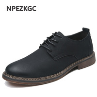 NPEZKGC Men Shoes New Spring and Autumn Casual Fashion Safety Oxfords Breathable Flat Footwear pu Leather Waterproof Shoes Men