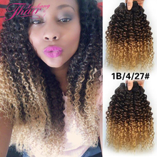 7a Cheap Brazilian Ombre Curly Virgin Hair 3 Bundles Ombre Blonde Kinky Curly Hair Weave Three Tone Human Hair Extension 1b 4 27