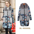 Winter 2016 Female Clothing Large Fur Collar Wadded Jacket Outerwear Patchwork Plus Size 4XL,5XL Women Cotton-Padded Jacket