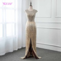 2019 Classic Long Crystal Evening Dress Sleeveless Pageant Dresses Robe de Soiree Slit Front YQLNNE