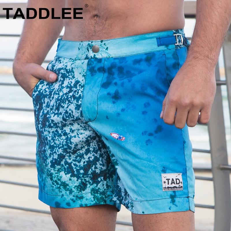 цена на Taddlee brand Swimwear Men Swimsuits Board Shorts Beach Surf Swimming Trunks Quick Drying Boxers Bermuda Sexy Swim Bottoms New