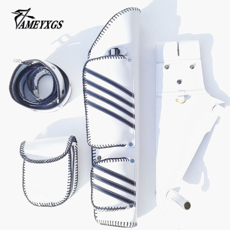 1 Pcs Archery 3 Tubes Quiver White Leather With Accessories Sprinkle Bag For Compound Recurve Bow Arrow Outdoor Shooting Hunting