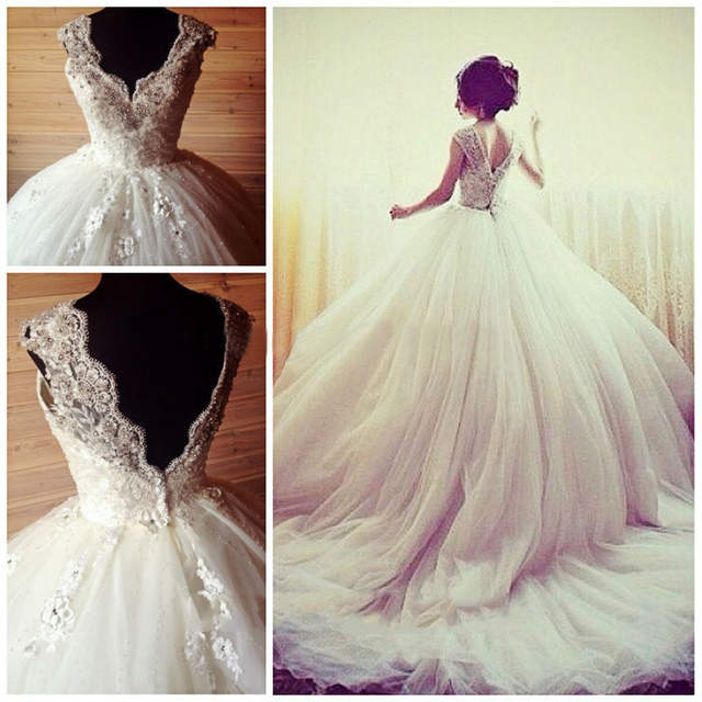 a3127264b16 Don s Bridal 2016 New Fashion Appliques Cap Sleeves V-neck Open Back Ball  Gown Wedding