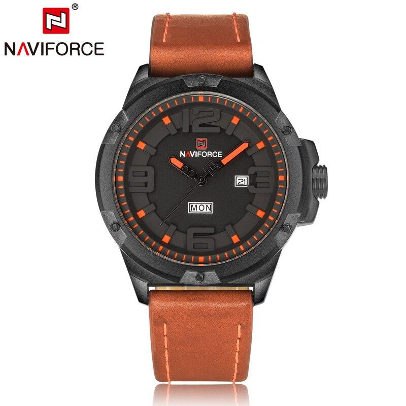 Naviforce Watches Men Luxury Brand Leather Band Quartz Watch Business Causal Date Wristwatch Mens Clock Men Waterproof 9100 соковыжималка brand 9100