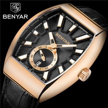 BENYAR Men Watch Waterproof Sport Genuine Leather Mens Wrist Watches Top Brand Luxury Business Military Army Man Clock Gift 5136 lige horloge 2017