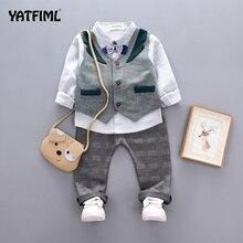 YATFIML одежда для малышей; костюмы для мальчиков на свадьбу; детское платье в британском стиле для дня рождения; костюм джентльмена; одежда для детей