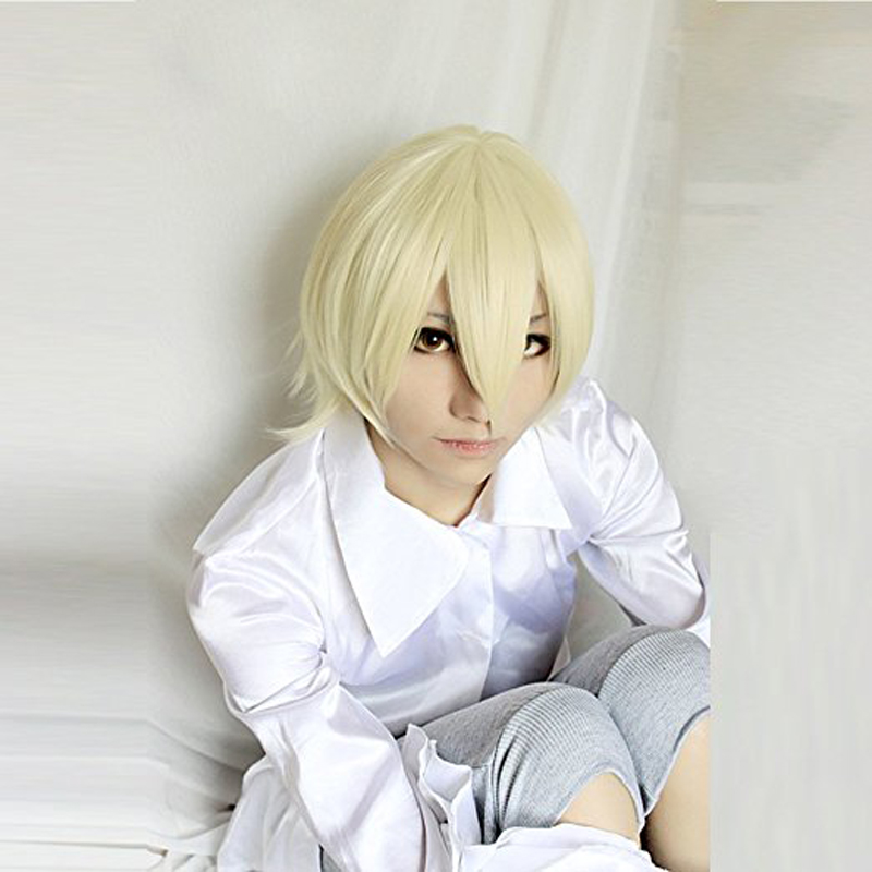 Black Butler Alois Trancy Blonde Short Synthetic Hair Cosplay Full Wig + Free Wig Cap
