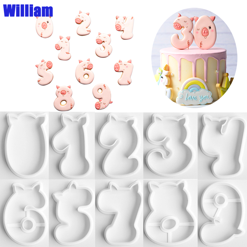 10Pcs/set 0-9 Number piglet Fondant Cookie Cutters Cake Plastic Embossed Candy Biscuits Molds Cookie Decoration Baking Tools