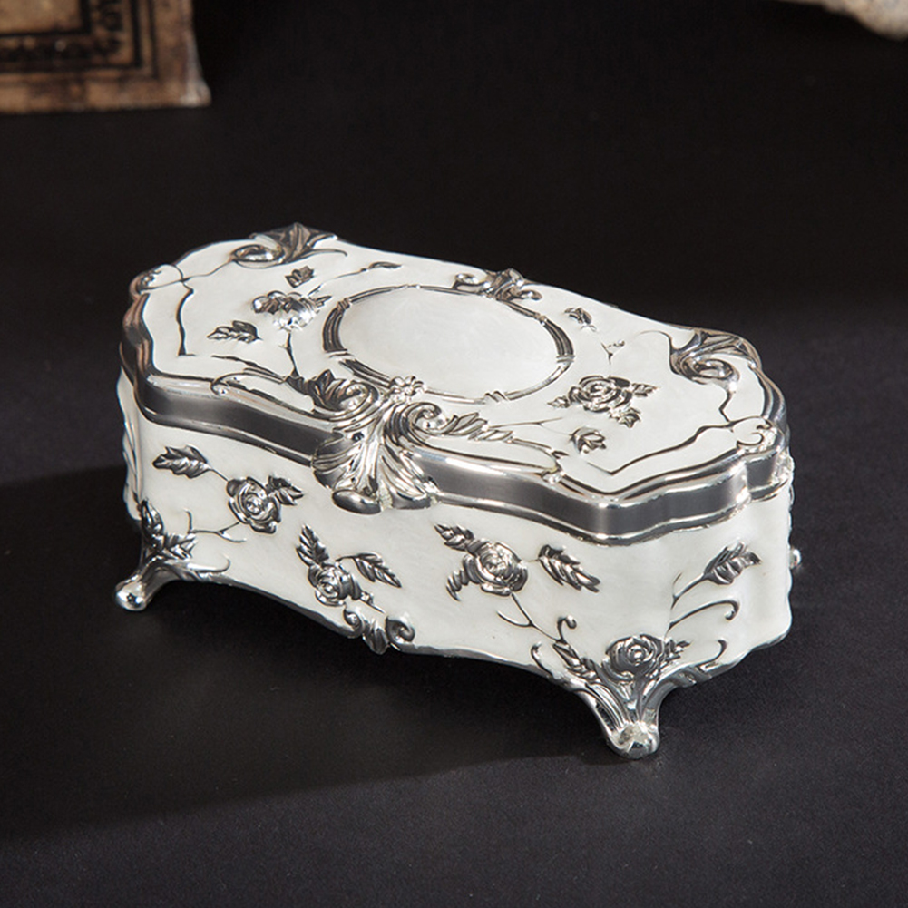 Flower Carved Zinc Alloy Toothpick Storage Box Vintage Display Jewellery Case Mini Trinket Portable Enamel Organizer Home