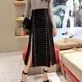 black rivet skirt 2017 new spring fashion high quality mid-calf maxi long skirt