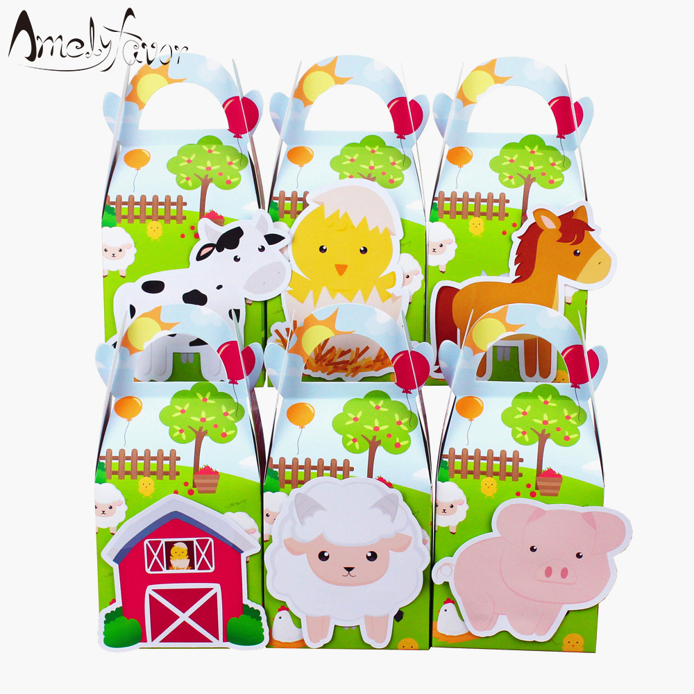 Farm Animals Theme Party Favor Box Green Candy Box Gift Cupcake Box Birthday Event Party Decorations Container Supplies