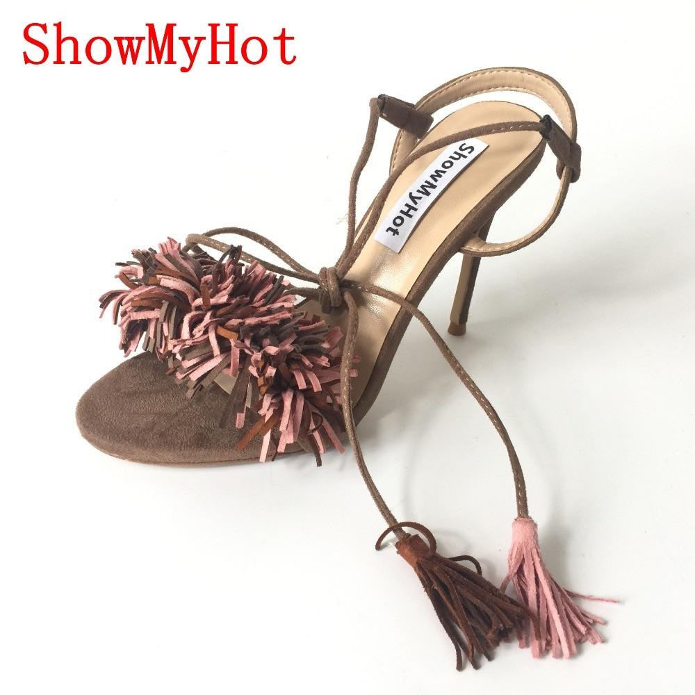 ShowMyHot Women fashion tassel Shoes Gladiator High Heel Sandals Brand Tassels Sandlias Blue Red Sexy Ladies