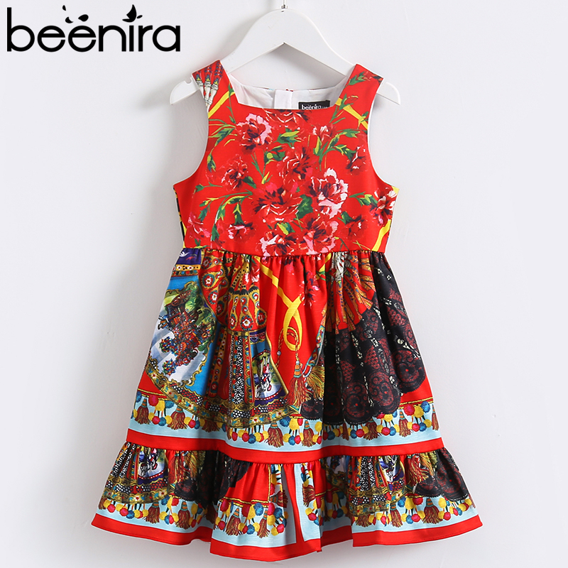 Beenira Girl Party Dress 2018 European and American Children Red Floral Printed Princes Dress Kids Dress Girls Clothes 4-14Y 100% real photo brand kids red heart sleeve dress american and european style hollow girls clothes baby girl clothes