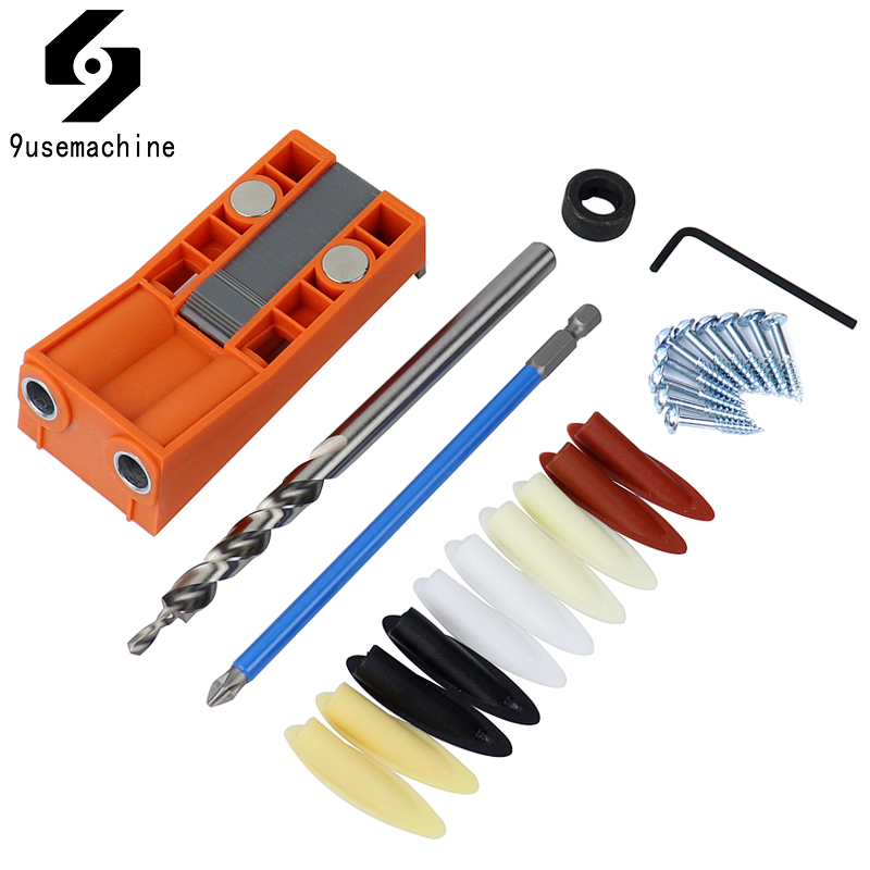 Pocket Hole Jig Set Bevel Angle Drill Guide 9.5mm Step Drill Hole Puncher With Magnet Positioning Slider Jig Carpentry Tools