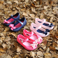 Baby Shoes For Girls Jelly Sandals Waterproof Shoes Children Mini Melissa With Bow Fashion Kids Plat