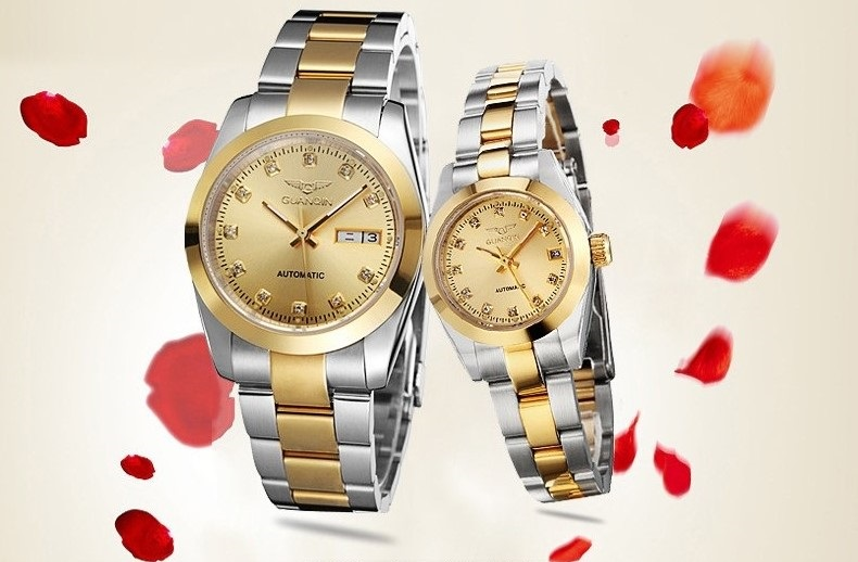 GUANQIN Gold Couple Watch Men Women Mechanical Watch Luminous Calendar Week Waterproof Rhinestones Automatic Lovers Watches (1)