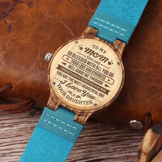 Para mi mamá-relojes de madera grabados reloj de pulsera de lujo para mujer relojes de cuarzo automáticos relojes azul turquesa en caja de regalo