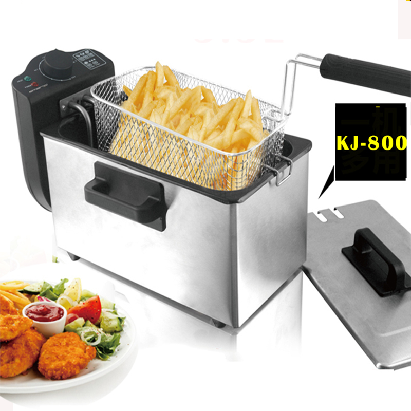 3L single-cylinder fryer fryer 2000W smokeless stainless steel fryer commercial household Electric fryer 1pc commercial deluxe stainless steel 3l churro maker 6l electric fryer manual spanish churros making machine capacity 3l