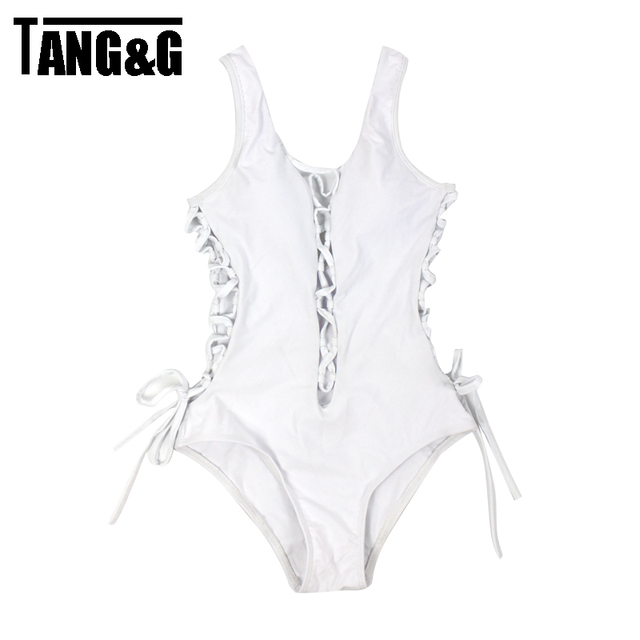 Newest Sexy One Piece Women Swimwear Black  White deep v neck backless Rope lace up bodysuit Swimsuit Hollow out trajes de bano