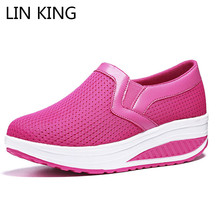 LIN KING Breathable Slim Women Swing Shoes Wedges Platform Height Increase Shoes Slip On Lazy Light Casual Work Loafers Big Size lin king wedges women casual swing shoes slip on height increase lazy loafers female nurse work shoes big size tenis feminino