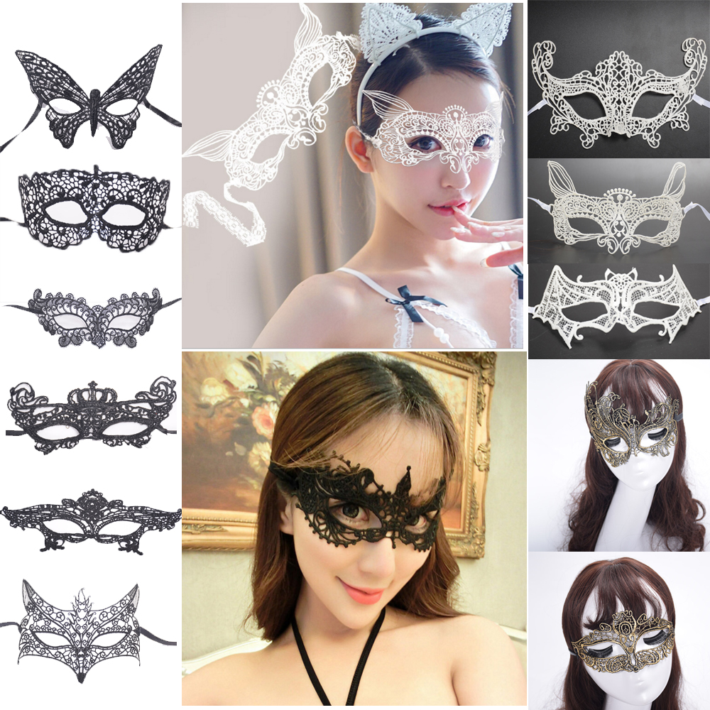 PMYUMAO Sexy Lady White Gold Silver Black Lace Eye Face Mask Woman Masquerade Party Ball Prom Halloween Costume Party Masks