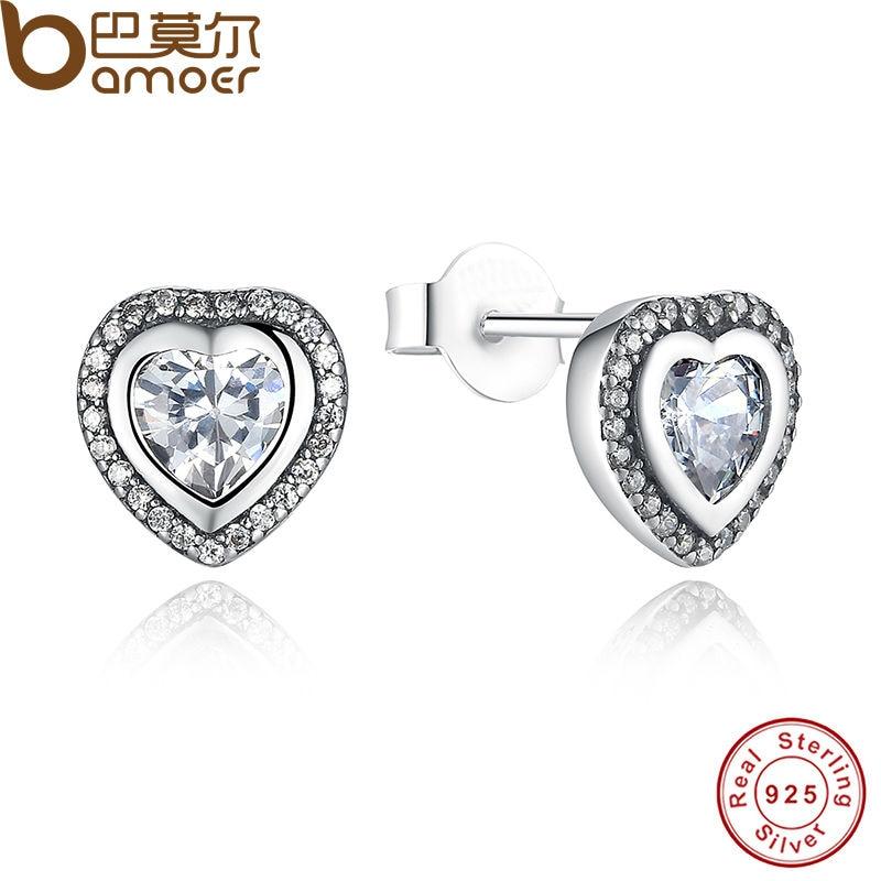 все цены на BAMOER 925 Sterling Silver Love Heart Shape Stud Earrings for Women Clear Cubic Zirconia Fashion Anniversary Jewelry PAS405 онлайн