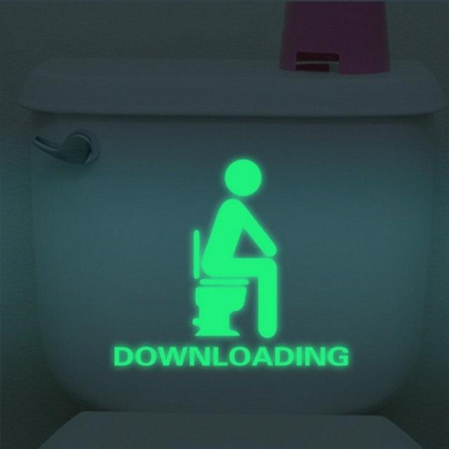 WC Luminous Toilet Stickers Creative Waterproof Wall Stickers Peeping glare Luminous Toilet Sticker WC Door Decoration